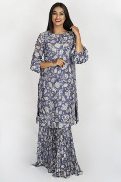 PRINTED PURE CREPE CUTDANA KURTI WITH SHARARA